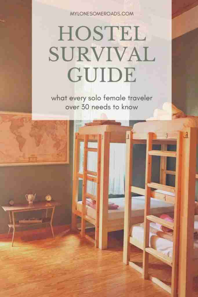 Solo female travel guide to hostels graphic