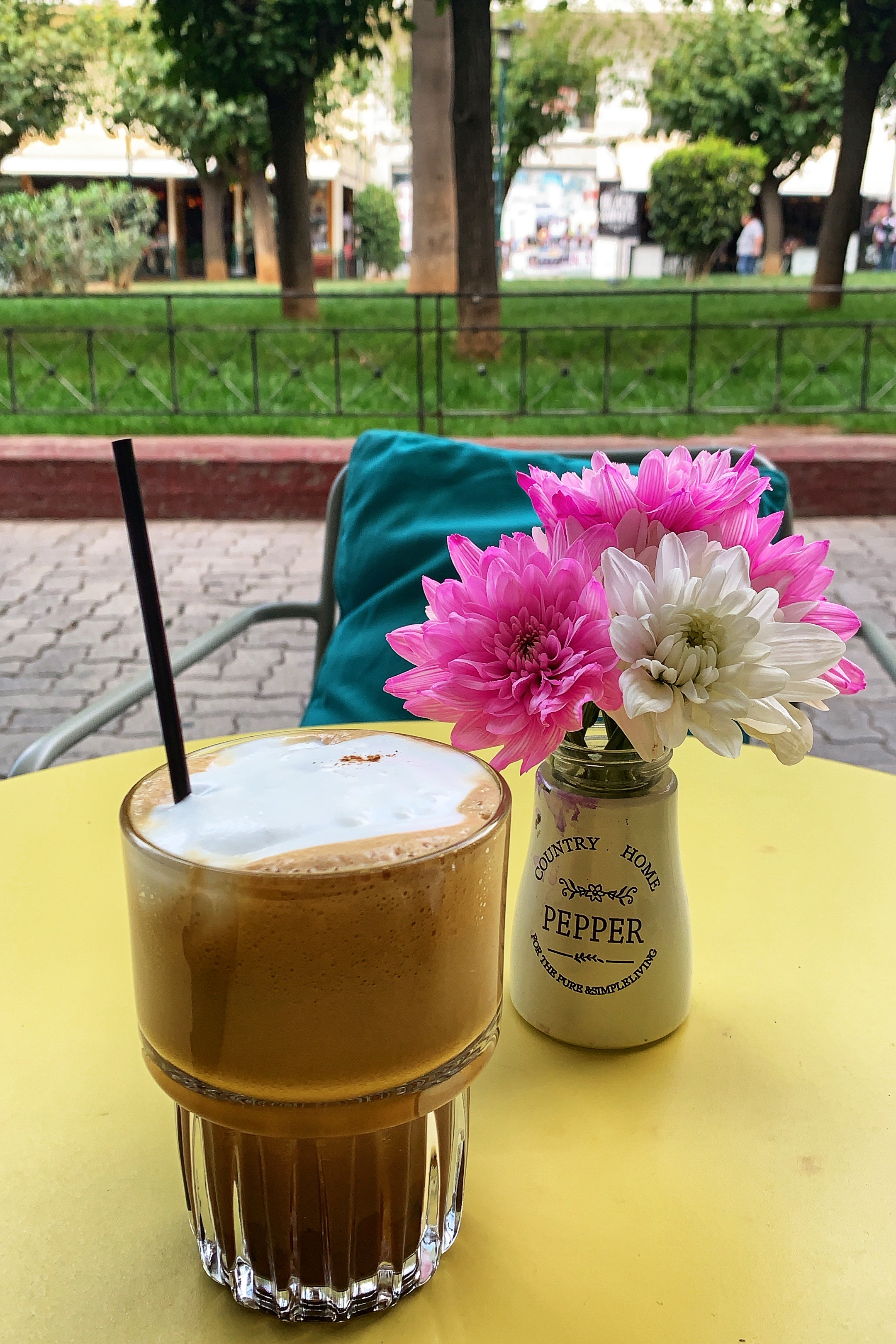 An iced coffee cappuccino at a cafe in Athens Greece
