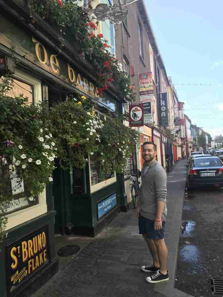 A man outside de Barra's pub in Clonakilty in West Cork, Ireland