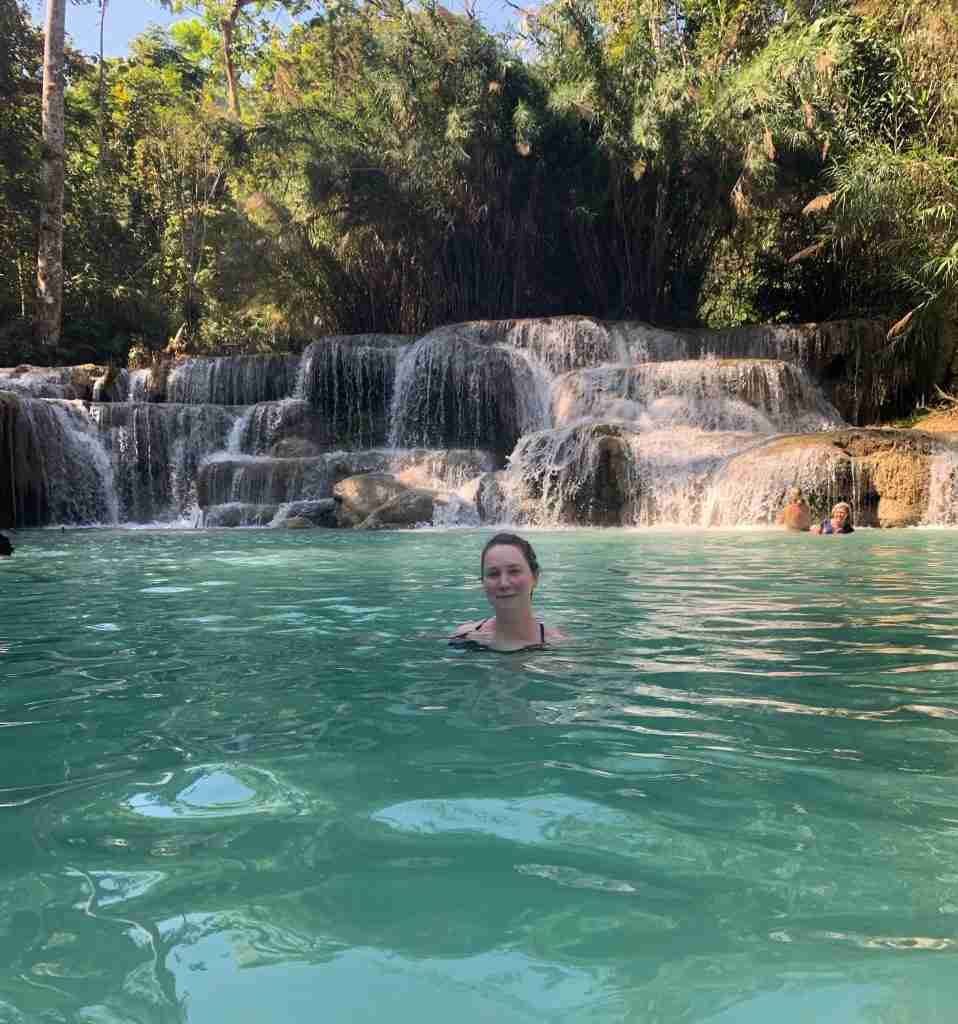 Solo female traveler in Kuang Si Falls, Laos