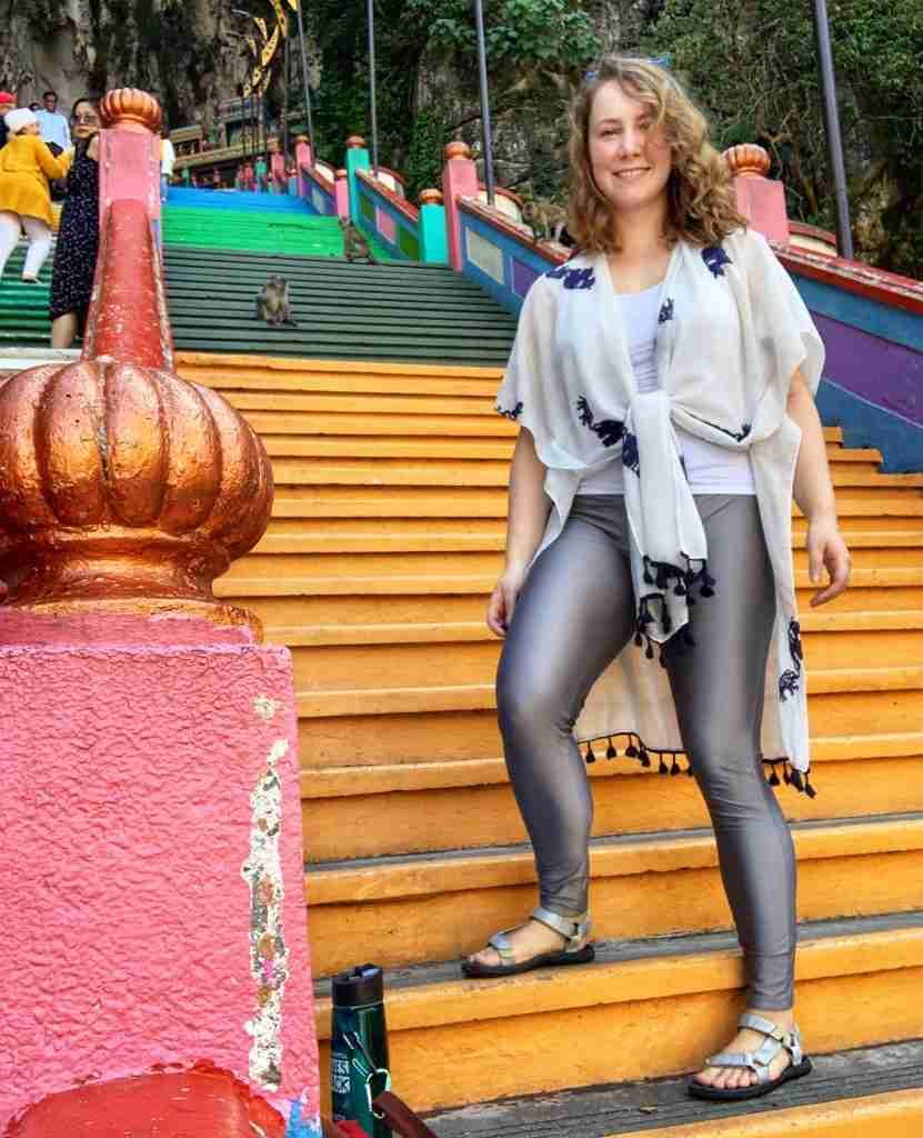 Solo female traveler in Kuala Lumpur, Malaysia at Batu Caves