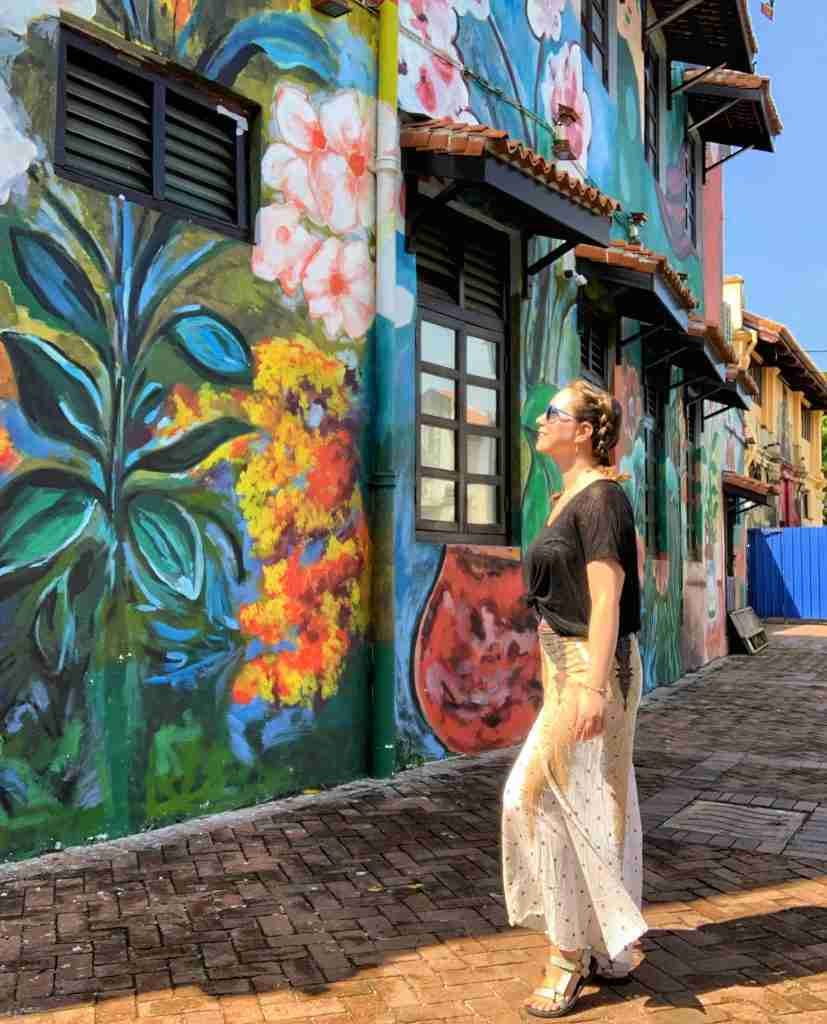 Solo female traveler in Malacca Malaysia with street art