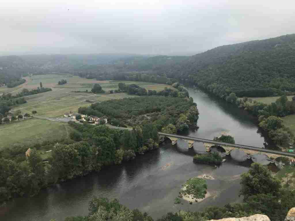 A foggy valley in the Dordogne France