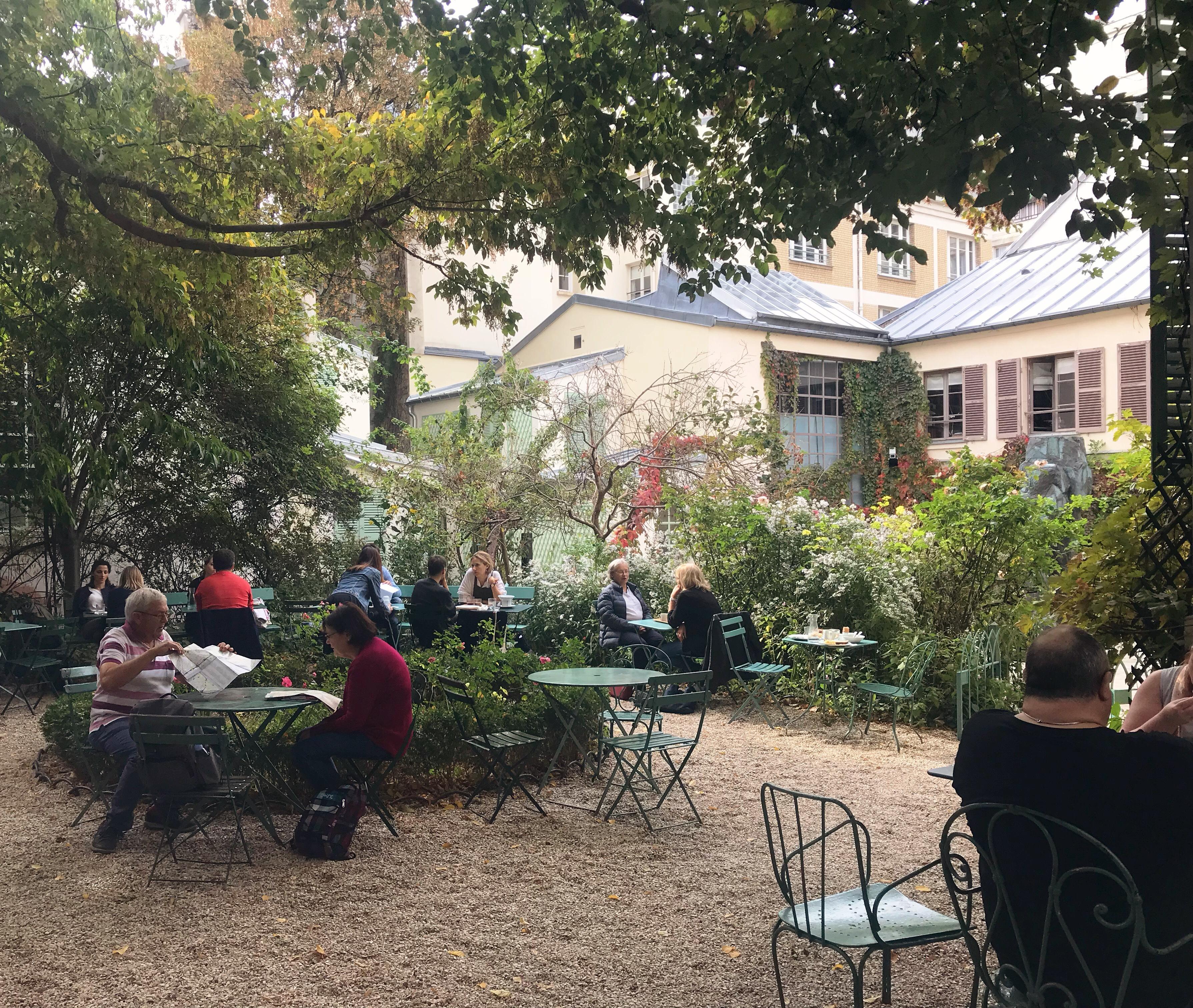 Garden cafe at the Musée de la Vie Romantique in Paris France.