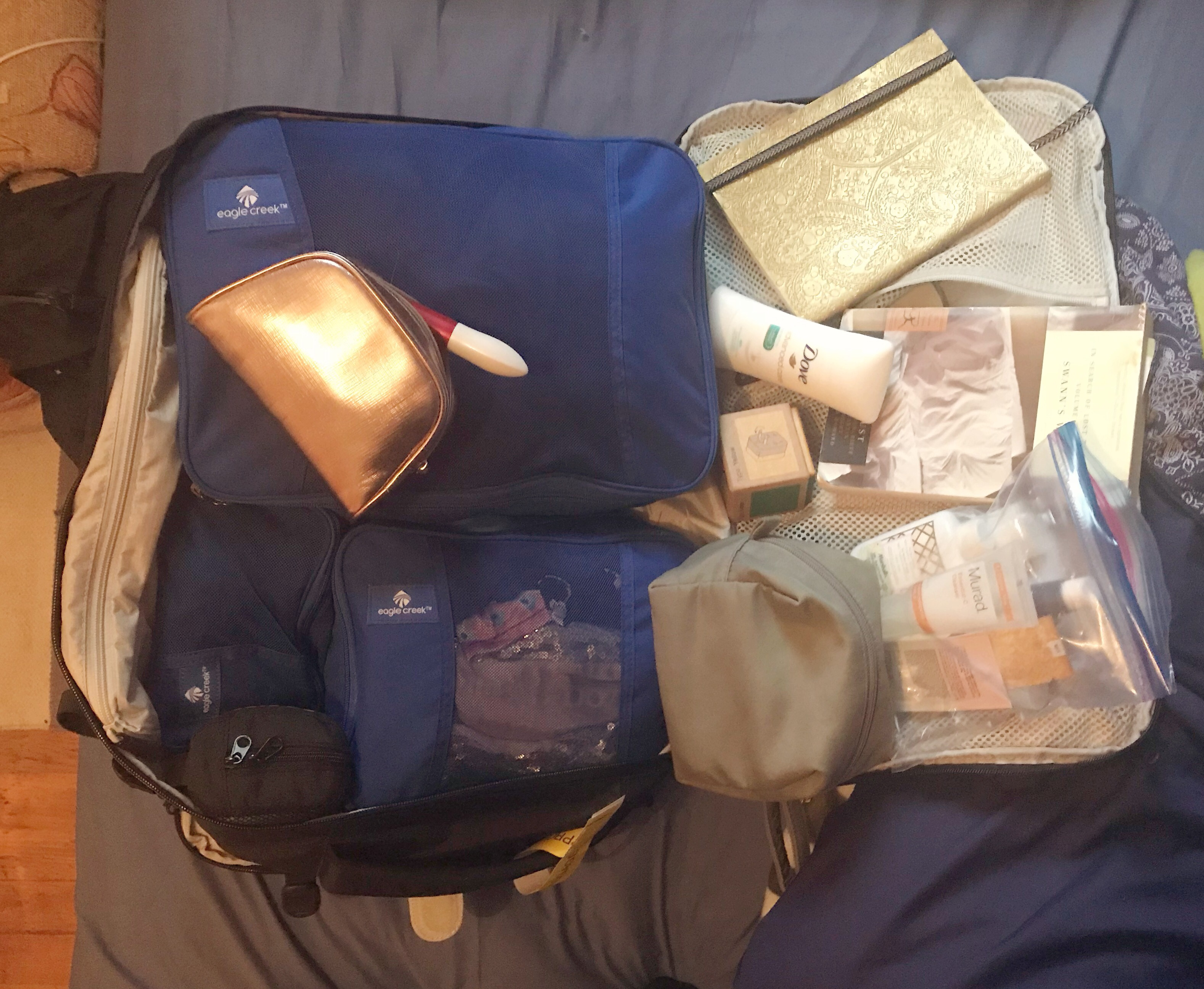 Minimalist travel packing for a solo female travel in a backpack