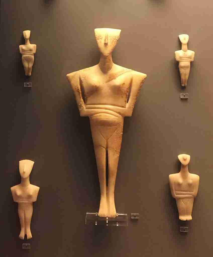 Cycladic figures at the National Archeological Museum in Athens Greece