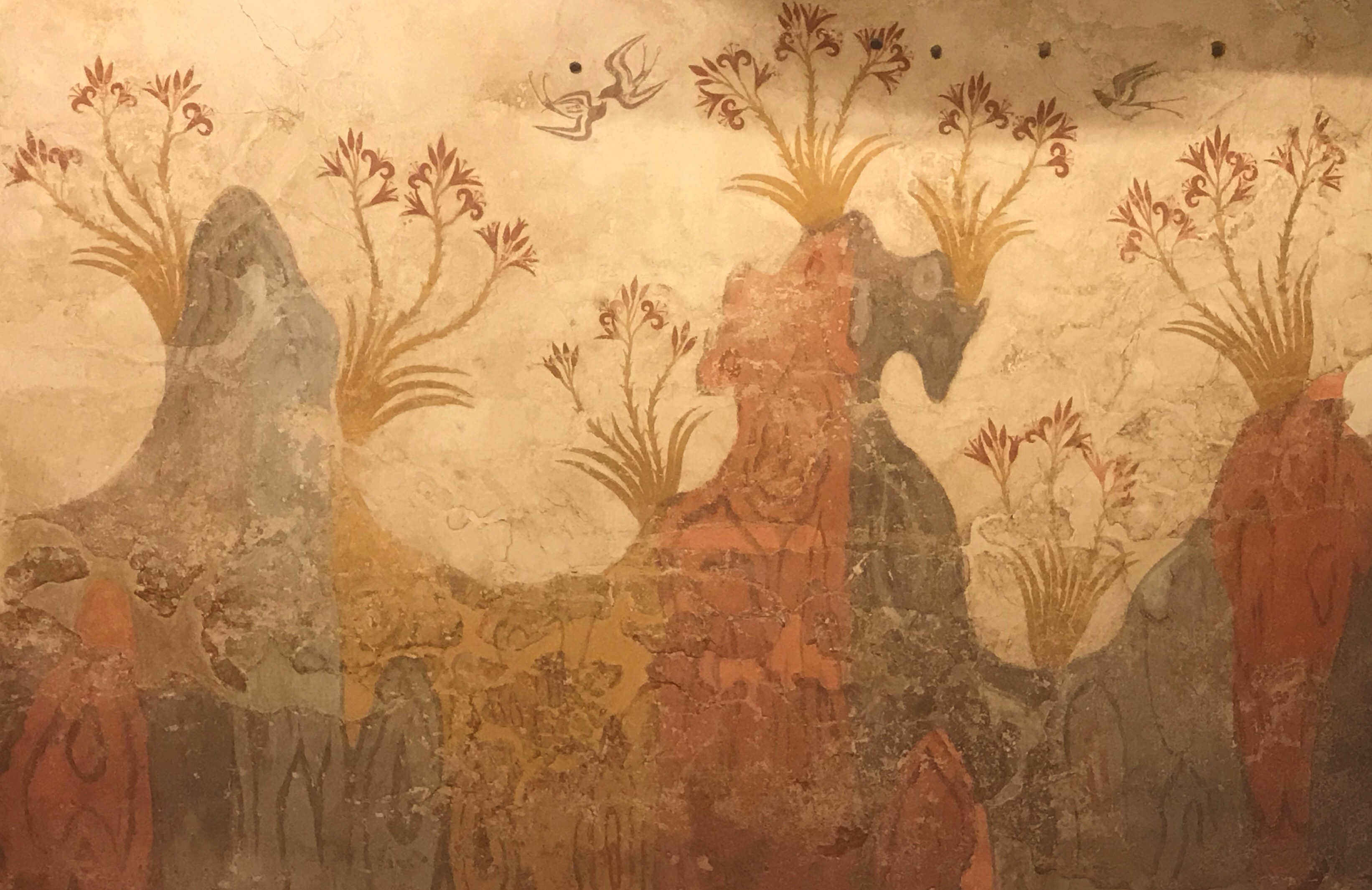Akrotiri wall fresco in National Archeological Museum in Athens Greece