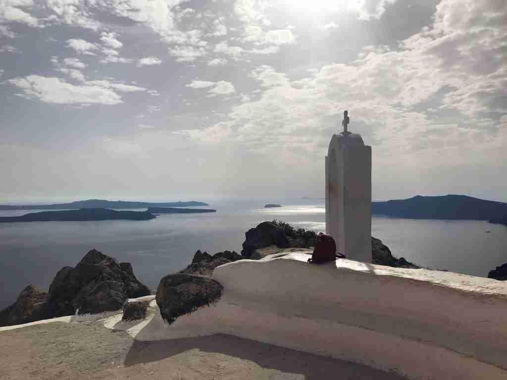 Santorini Greece white buildings and the blue sea