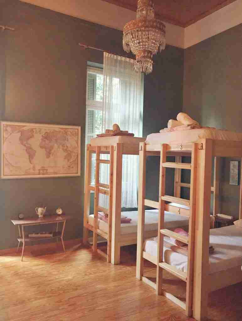a hostel room at the Athens Quinta Hostel in Exarchia for solo travelers
