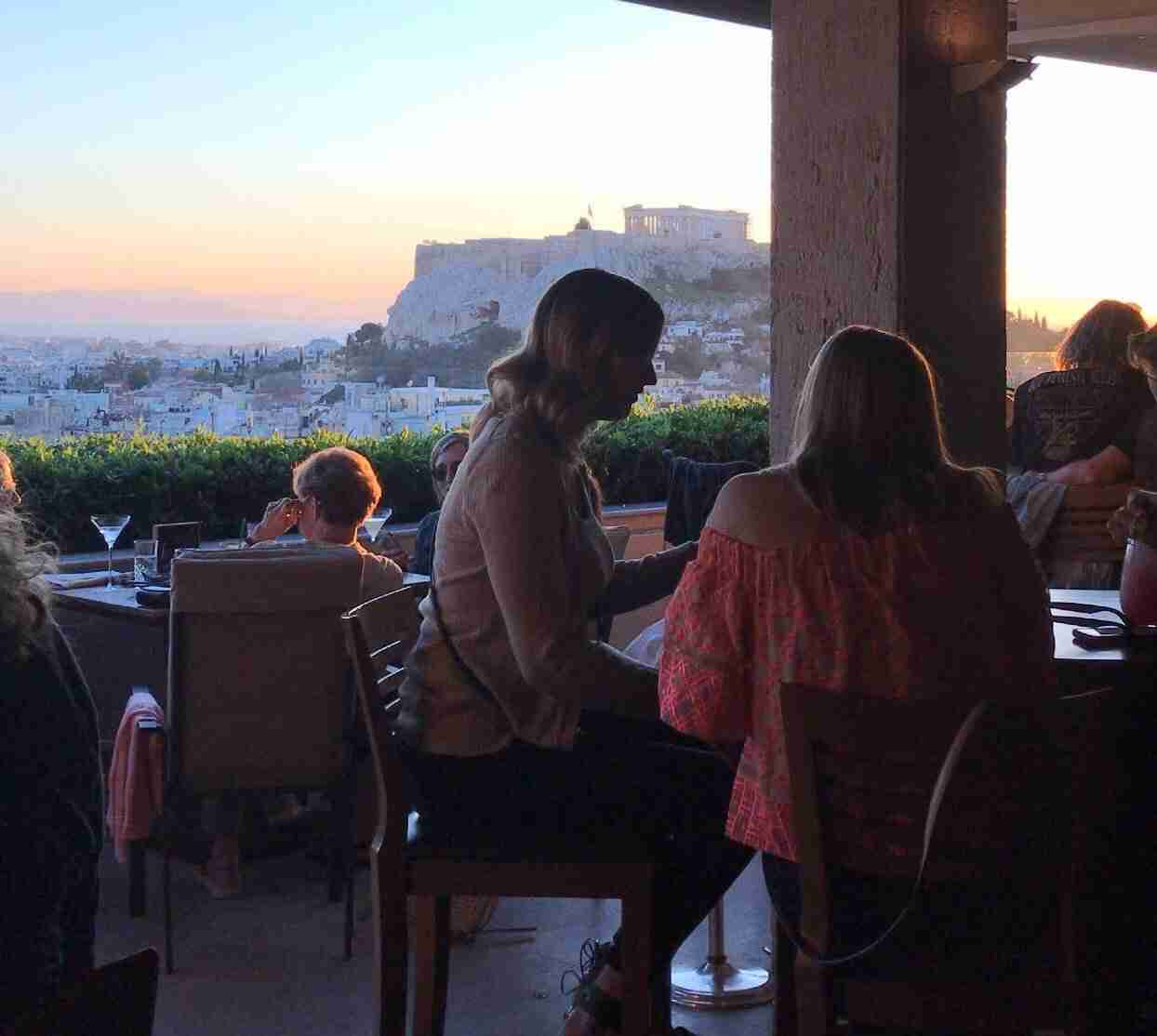 Sunset over the Acropolis in Athens from the Grand Bretagne Hotel rooftop bar