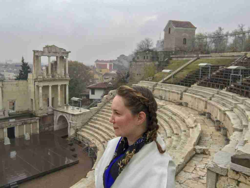 Solo female traveler at Roman ruins in Plovdiv Bulgaria