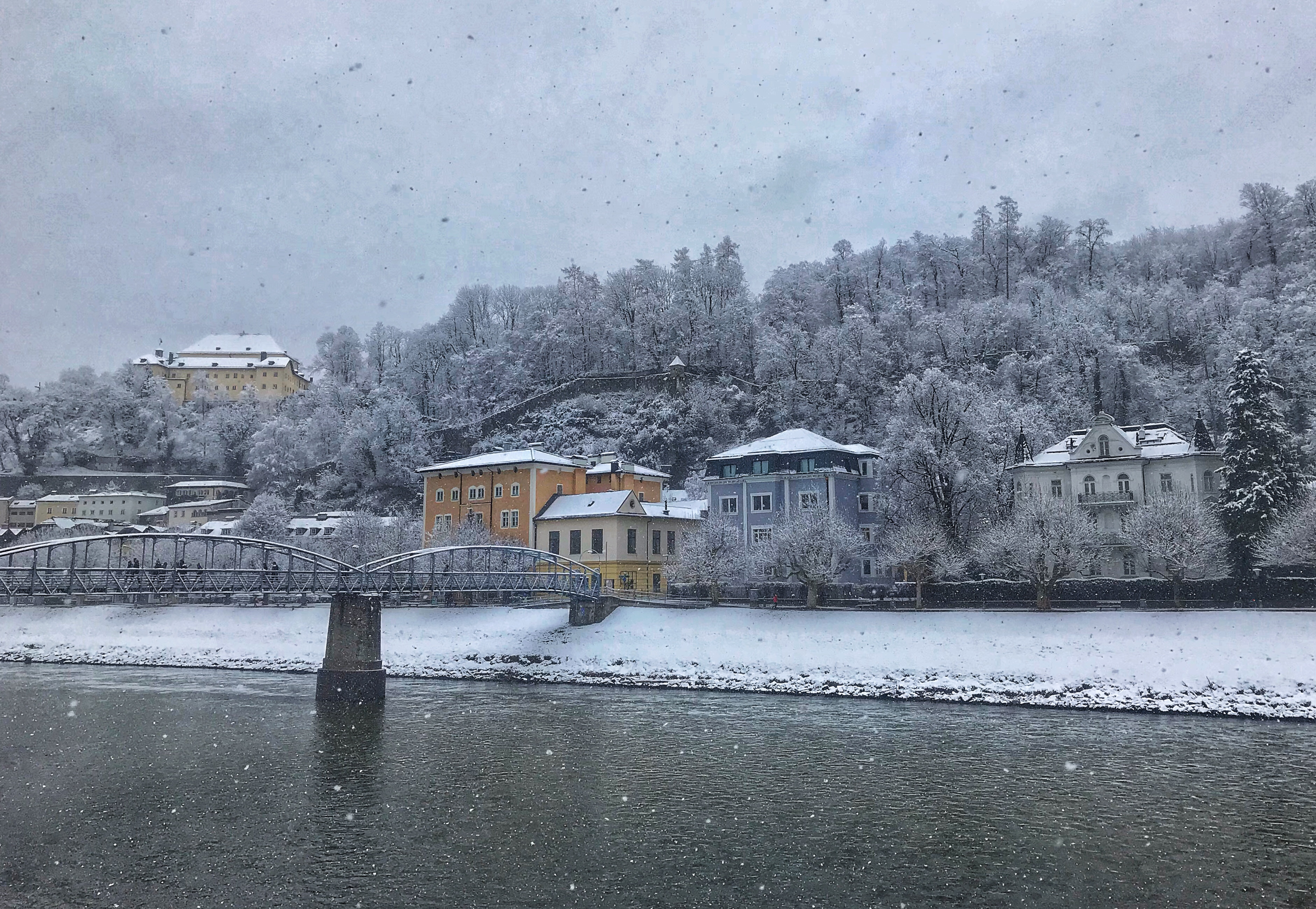 Salzburg, Austria in winter in the snow