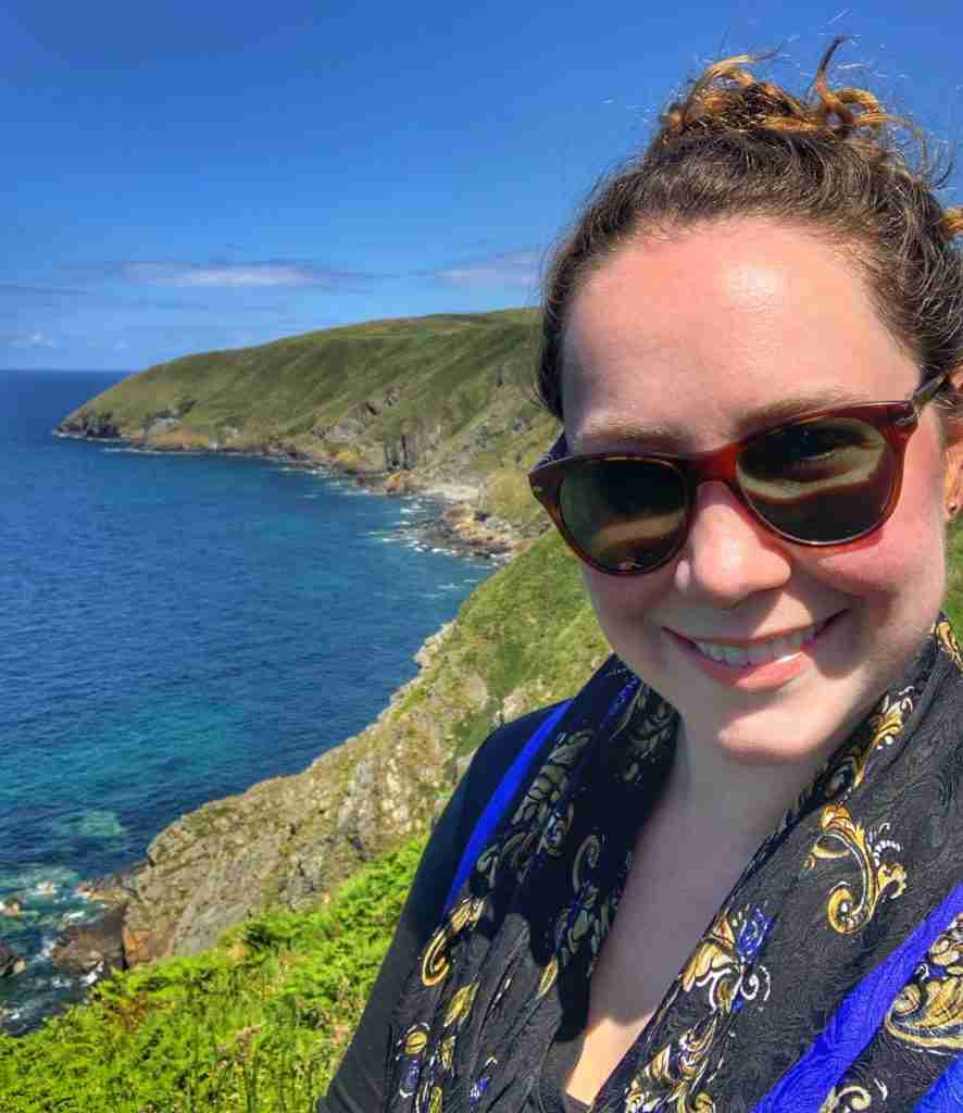 Solo female traveler on the Isle of Man cliff walk
