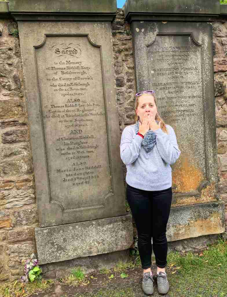 At the graveyard that inspired Harry Potter in Edinburgh Scotland, Tom Riddle's grave.