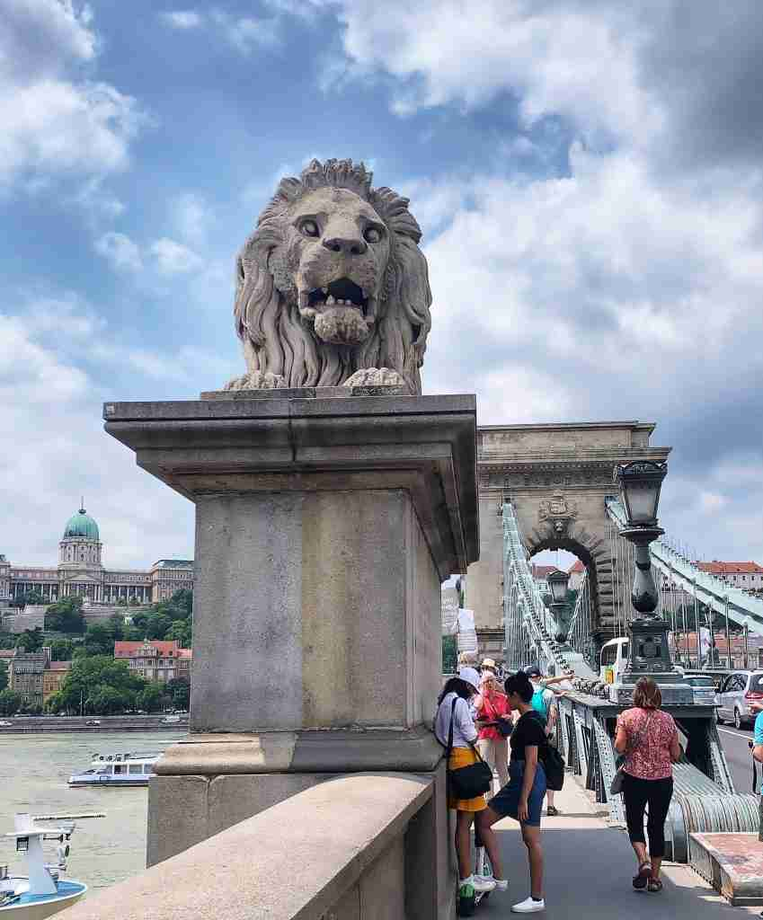 Lion statue on a bridge in Budapest Hungary