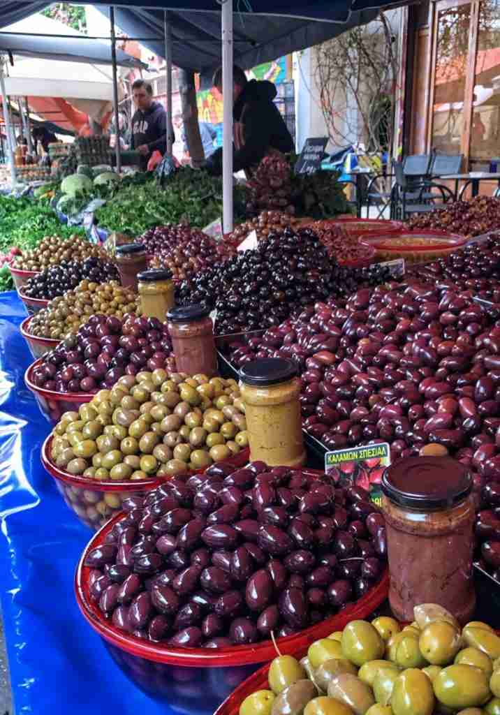 Olives at the laiki agora or farmer's market in Athens Greece