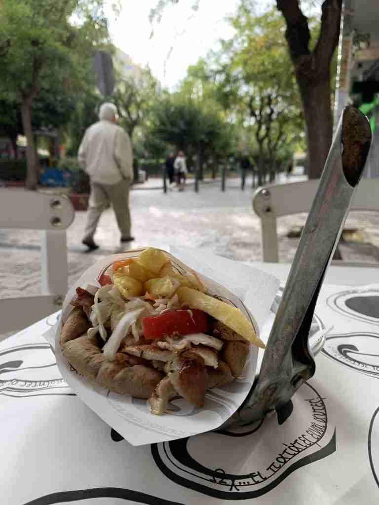 A gyros pita at a souvlaki place in Athens Greece