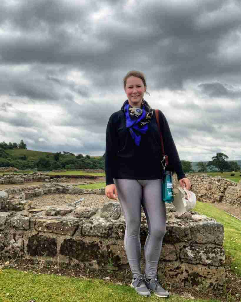 Solo female traveler along Hadrian's Wall in the north of England