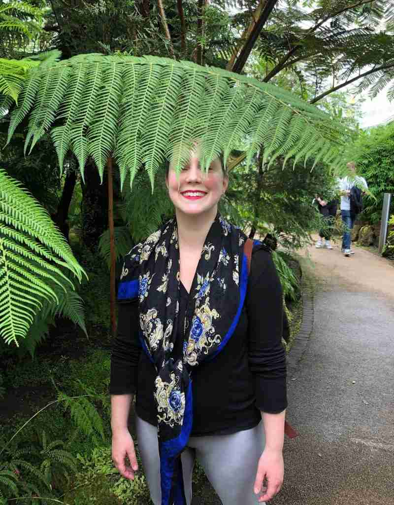 solo female traveler in Glasgow botanical gardens