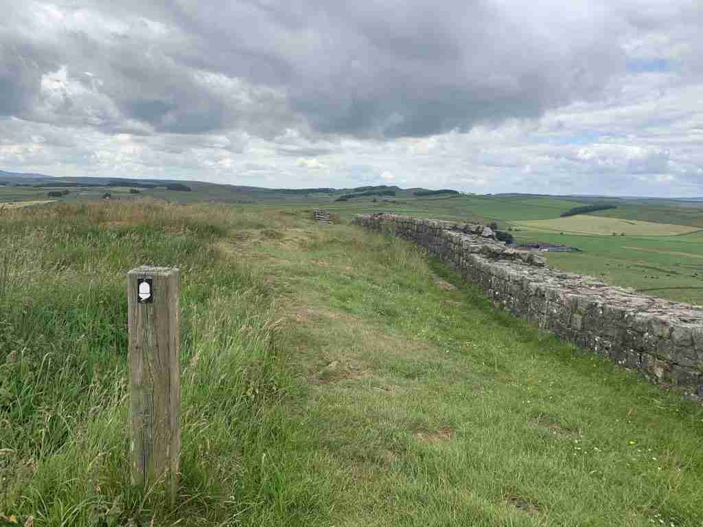 National Trust trail marker along Hadrian's Wall walk in England