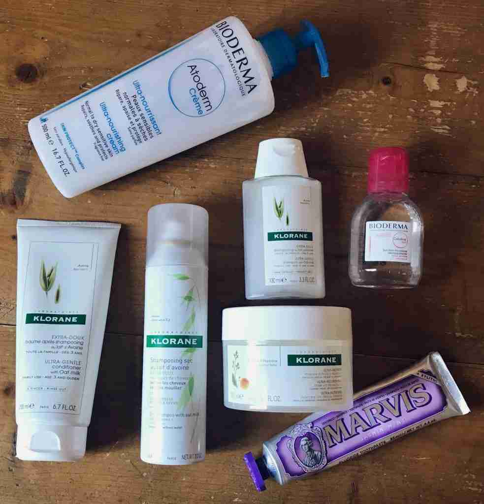 French haircare products from Klorane with Marvais toothpaste and Bioderma products