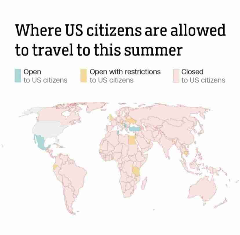 where can Americans travel in summer 2020 map