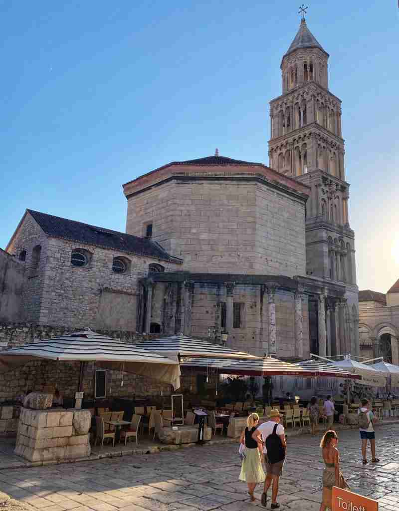 Diocletian's palace in the old town of Split, Croatia with the bell tower and Roman ruins