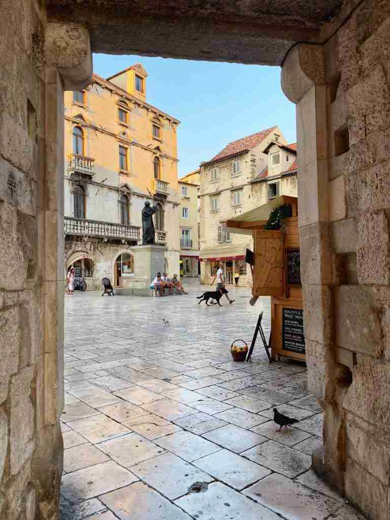 Fruit Square in Split through a doorway in Diocletian's Palace in Croatia.